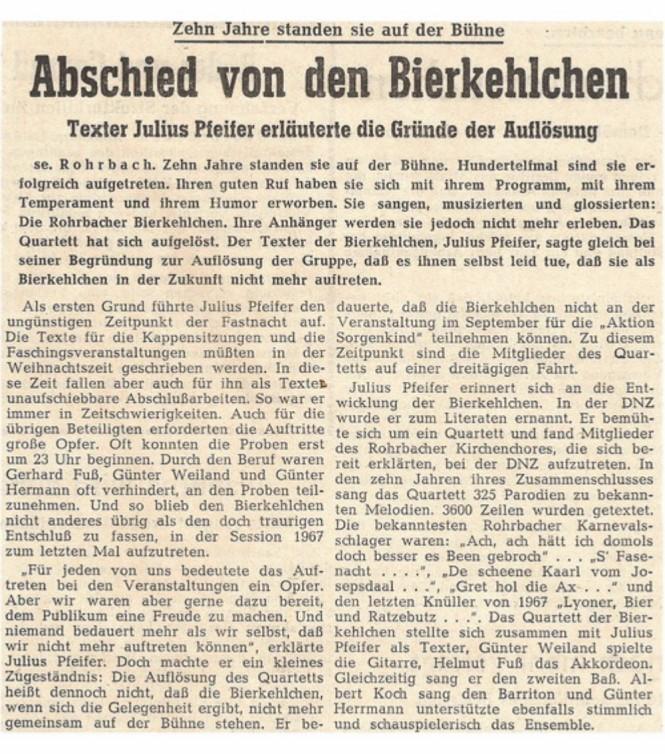 Die Saarbrücker Zeitung berichtet über die 4 Bierkehlchen