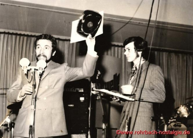 1970 In der Saarbrücker Saarlandhalle mit Manfred Sexauer bei der 1000. Sendung Hallo Twen