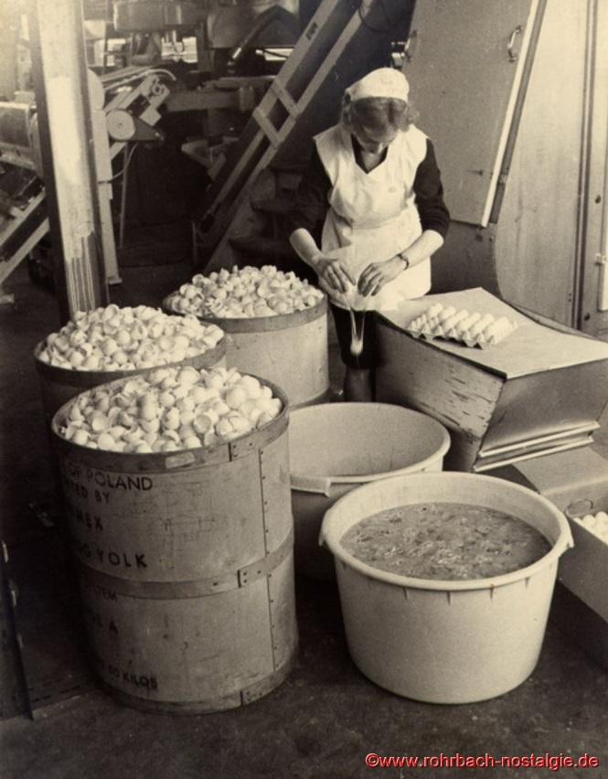 Mitarbeiterin beim Aufschlagen von täglich 5000 Eiern