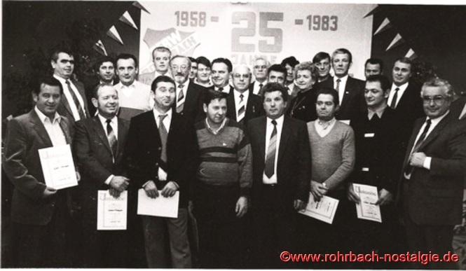 1983 Ehrung verdienter Mitglieder anlässlich des 25-jährigen Bestehens der SF Rot-Weiß Rohrbach