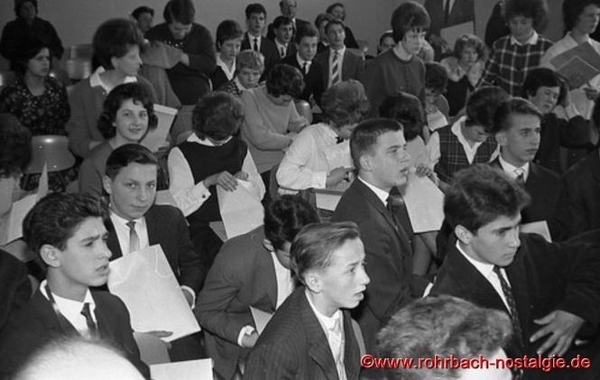 23.März 1963: Schulentlassungsfeier des Jahrganges 1948 in der Aula der Johannesschule