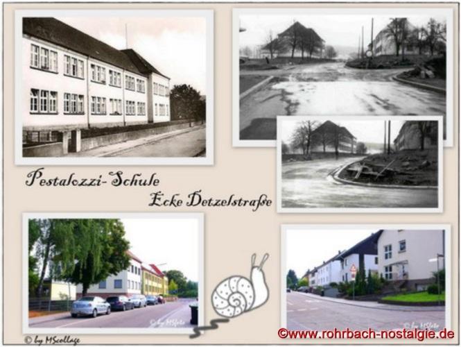 Das Pestalozzischulhaus und die Ecke Detzelstraße und Pestalozzistraße
