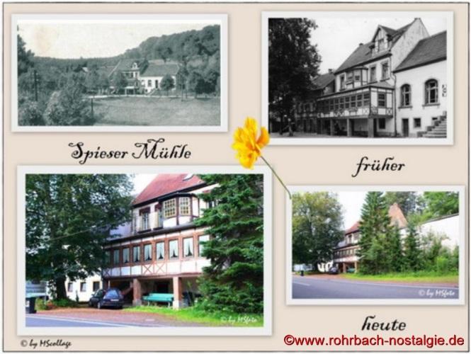 """Das Gasthaus """" Spieser Mühle """" (Geraldy""""s Wirtschaft). Als kurios gilt, dass die bayrisch-preußische Grenze mitten durch den Tanzsaal der Gaststätte verlief"""