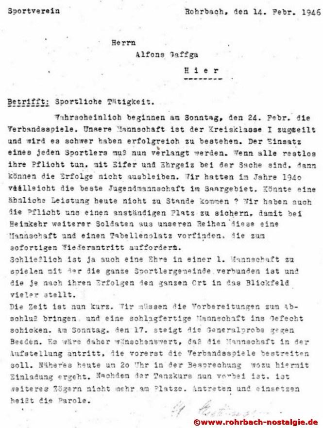 Einladungsschreiben vom 14. Februar 1946 an den aktiven Spieler Alfons Gaffga vom 1.Vorsitzenden Walter Bettinger