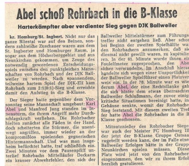 Artikel in der Saarbrücker Zeitung über das Entscheidungsspiel SV Rohrbach gegen DJK Ballweiler