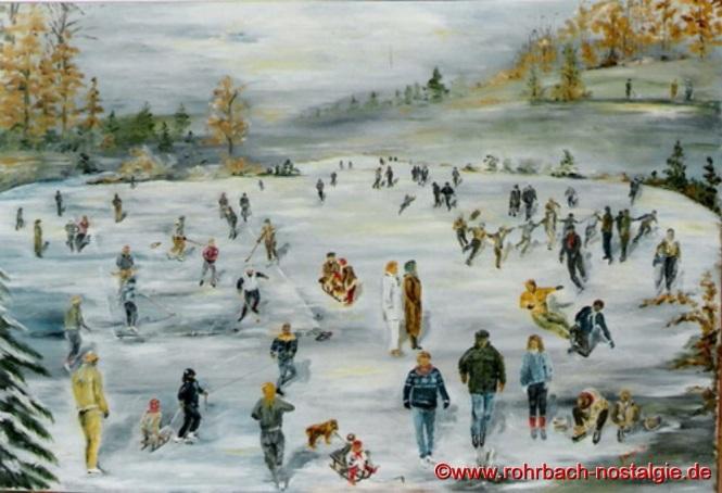 Winterliches Treiben am Glashütter Weiher (Gemälde von Günter Weiland)