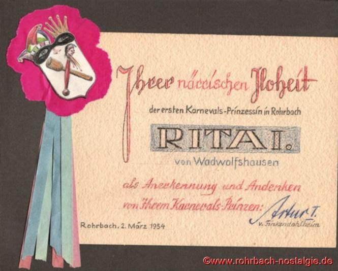 Die Ernennungsurkunde von Prinzessin Rita I. (Wolfs Rita)