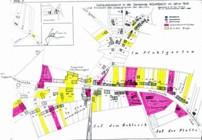 Die Urkatasterkarte aus dem Jahre 1845 mit dem Gebäudebestand entlang der Straße ( und den Besitz-Nummern)