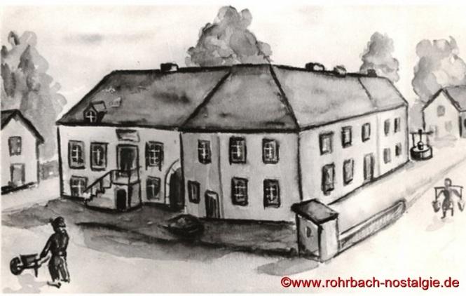 Eine nach Erzählungen, von Otto Staut, angefertige Skizze der Bäckerei Wolf (links mit Treppe) und dem Haus Bettinger. Rechts im Hintergrund ein Brunnen