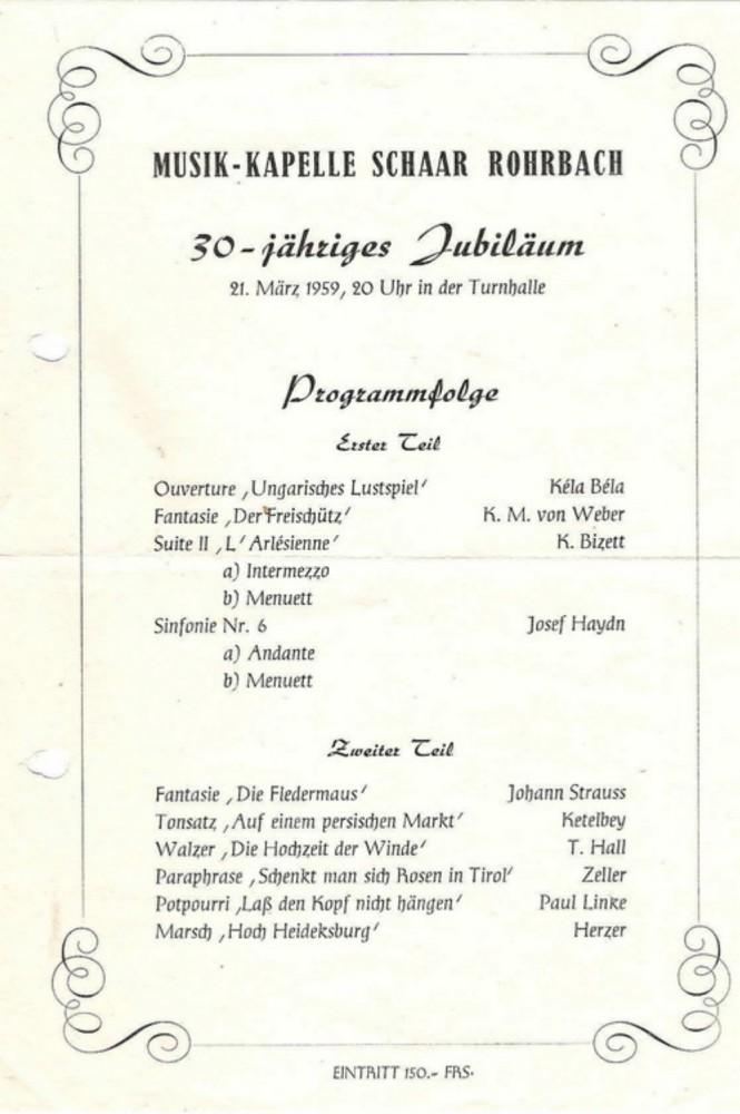 1959 feiert die Musikkapelle Schaar ihr 30-jähriges Jubiläum in der TG-Turnhalle