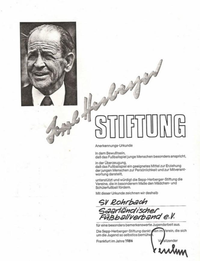 1986 - Verleihung des Sepp Herberger Preises durch den Saarländischen Fußballverband