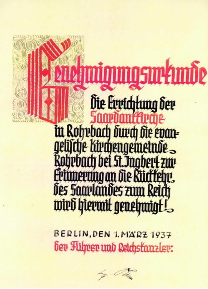 Am 1. März 1937 unterzeichnet der Führer und Reichskanzler Adolf Hitler die Genehmigungsurkunde