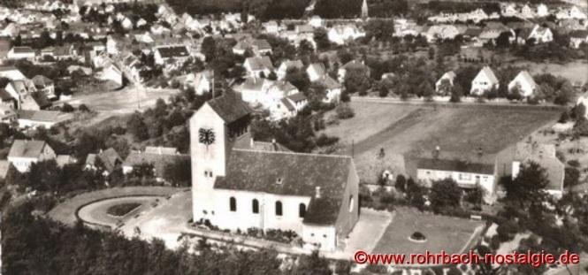 Luftaufnahme der Christuskirche Mitte der 50er Jahre