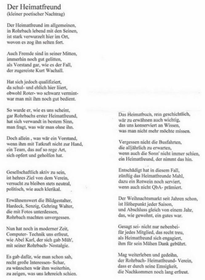 Ein Gedicht über die Heimatfreunde von Günter Jung