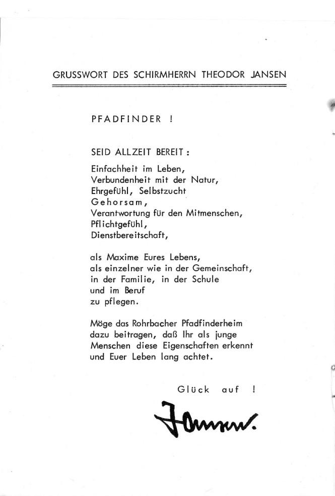 Grußworte des großen Förderes Theodor Jansen zur Heimeinweihung
