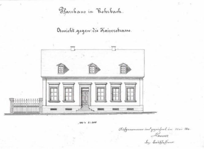 """Eine Planzeichnung von 1884 vom """"Haus Weiland"""", dem künftigen Pfarrhaus"""