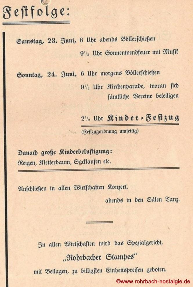 Die Festfolge am Sonntag, dem 24. Juni 1934