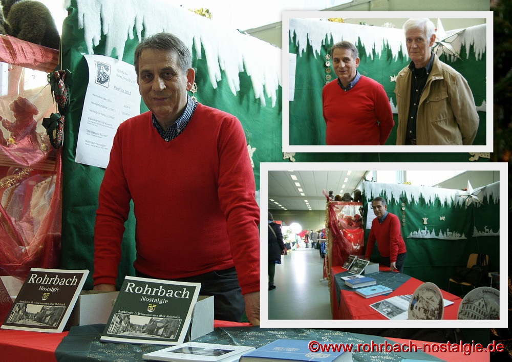Karl Abel mit Walter Gehring beim Weihnachtsmarkt in Rohrbach am Stand der Rohrbacher Heimatfreunde