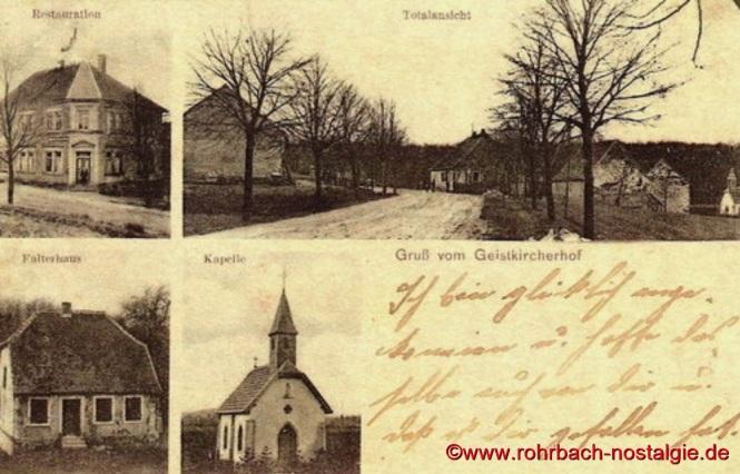 Postkarte aus dem Jahr 1909 vom Geistkircherhof mit Kapelle