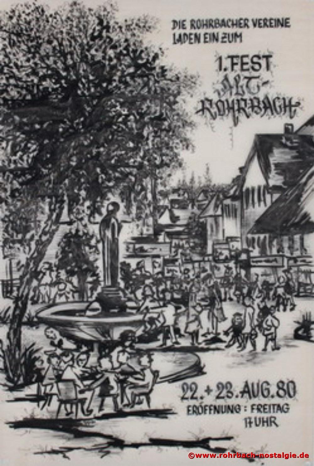 1980 Plakat für's 1. Alt-Rohrbach-Fest gestaltet von Robert Berrang