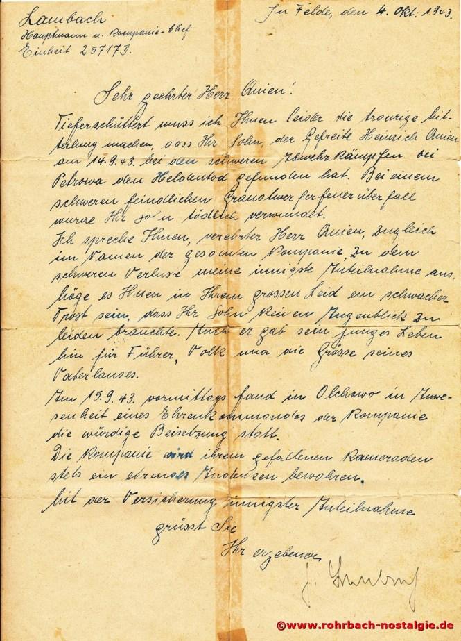 Brief des Kompaniechefs an den Vater des gefallenen Heinrich Quien