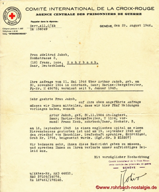 1946 Anfrage an Rotes Kreuz-Artur Jacob