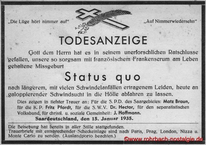 1935 Eine satirische Todesanzeige