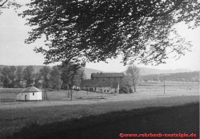 Die Rohrbacher Mühle vom Gebrannten Wald aus gesehen Richtung St. Ingbert