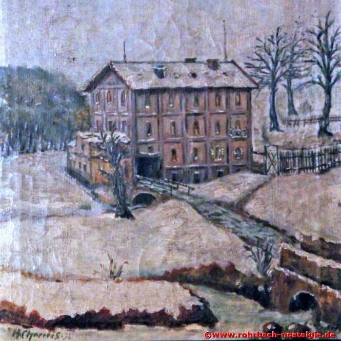 Um 1930 Ein Gemälde der Rohrbacher Mühle von dem Rohrbacher Hobbymaler Heinrich Charrois