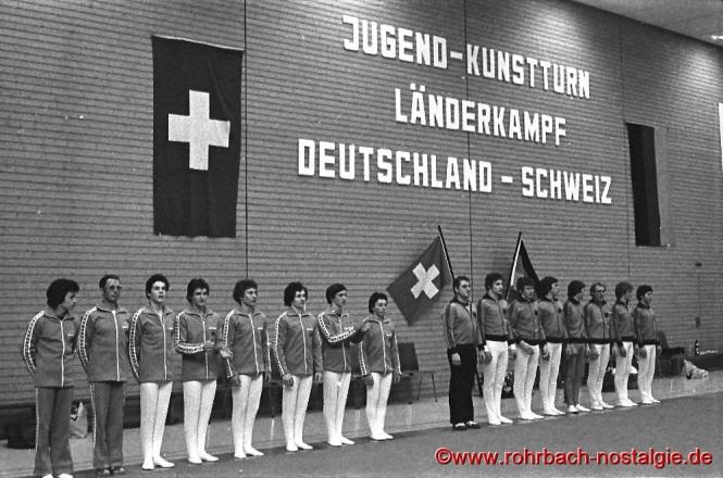 1976 am 1. Dezember: Jugend-Turnländerkapf Deutschalns gegen die Schweiz in der Rohrbachhalle