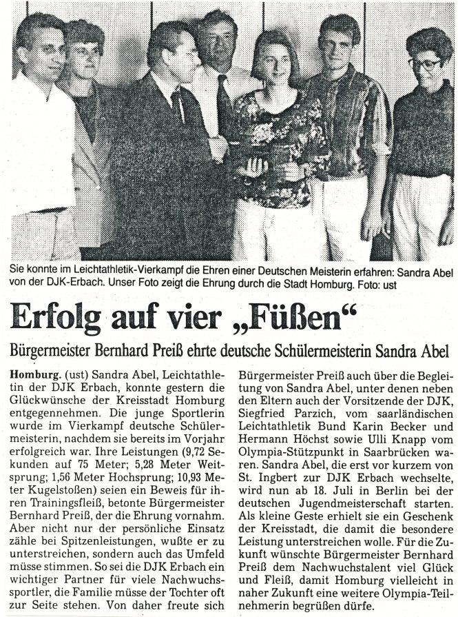 16. juli 1991 Sandra Abel gibt einen Empfang für die erfolgreiche Athletin der DJK Erbach