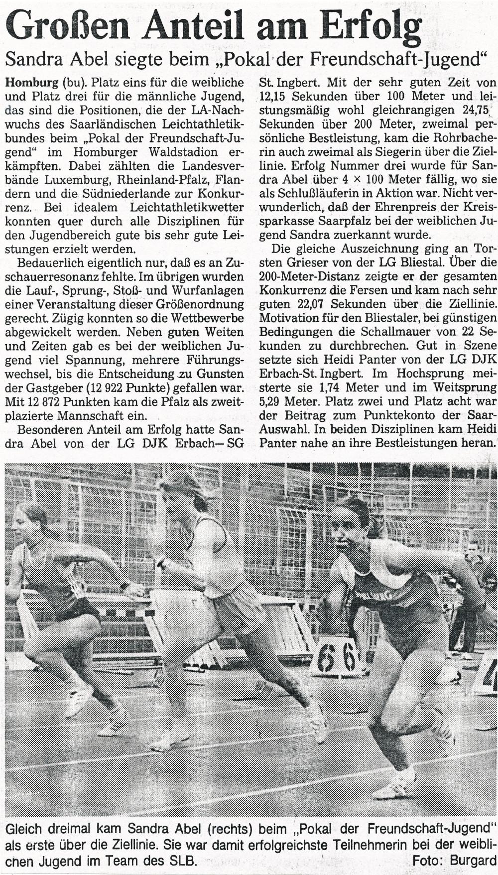 Die saarbrücker Zeitung berichtet über den Pokal der Freundschaft