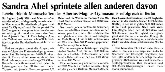 Ein Artikel der Saarbrücker Zeitung über die Teilnahme des Albertus Magnus Gymnasiums an Jugendwettbewerb