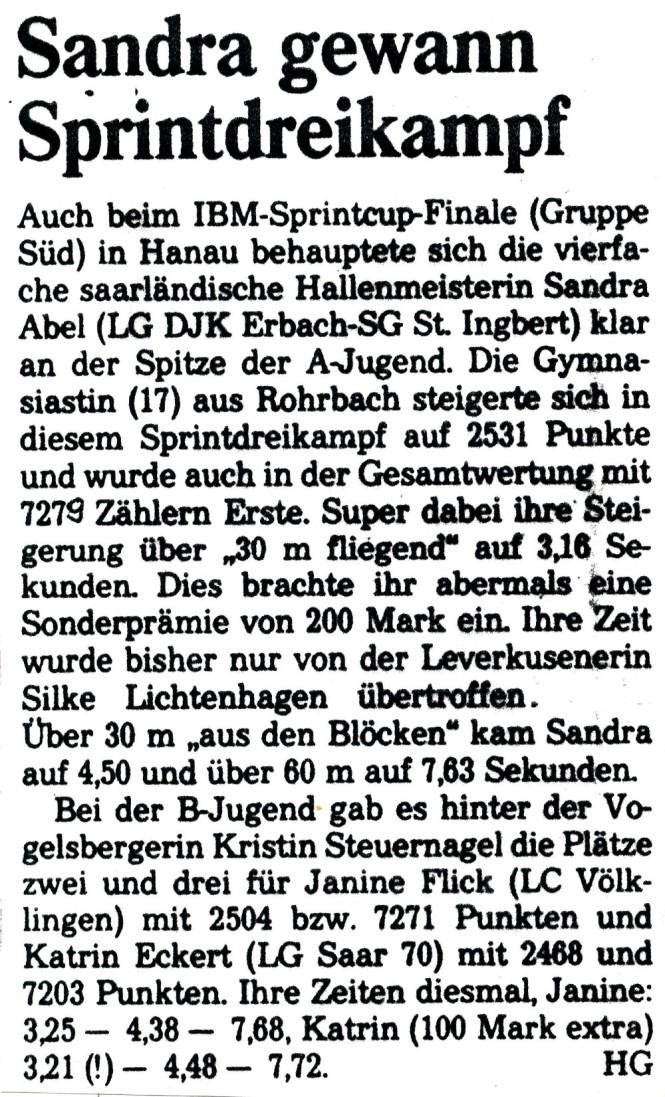 Artikel der Saarbrücker Zeitung zum IBM Sprintcup
