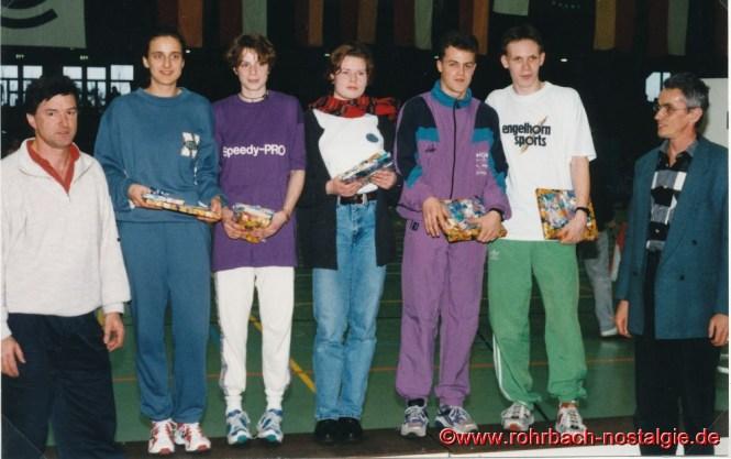 19. Februar 1995: Siegerehrung durch den DLV für die Sieger des IBM Sprintcups.