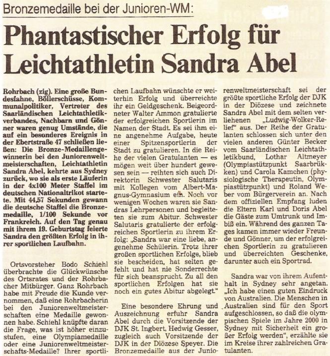 Die Saarbrücker Zeitung berichtet über die Heimkehr von Sandra