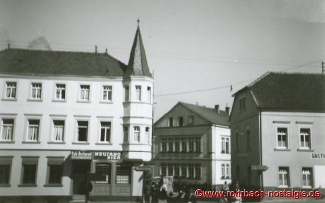 Das Gasthaus Persil Mitte der 50er Jahre. Rechts die Gastwirtschaft Zur Sonne