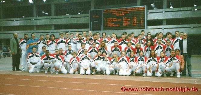 1994 Das deutsche Team beim Länderkampf in Moskau. Sandra Abel in der vorderen Reihe kniend die 9. von links