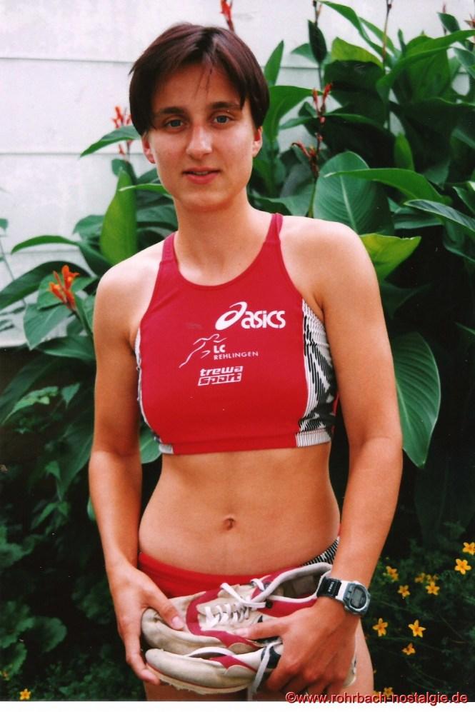 1999 Sandra abel im Trikot ihres neuen Vereins LC Rehlingen