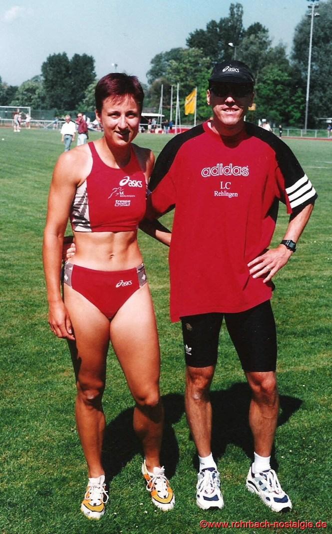 Mai 2000 Sandra Abel mit ihrem Trainer und Freund und heutiger Ehemann Andreas (Andi) Ruth.